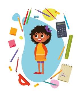Школьник милая красивая чернокожая африканская девочка в окружении учебных предметов. канцелярские товары. разноцветные векторные иллюстрации. карандаши, калькулятор, линейка и др. деловой офис черный клипарт