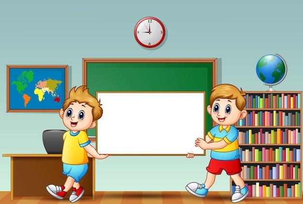教室での黒板の看板