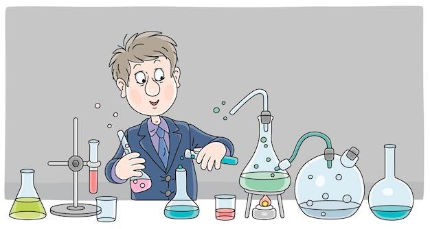 学校のクラスのベクトル漫画イラストの化学の授業で実験のための化学ガラスフラスコ試薬と機器と制服を着た男子生徒