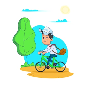 Schoolboy rides a bicycle with a bag to school.  illustration  on white background.