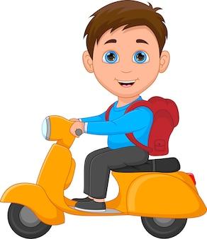 白い背景の上のスクーターに乗る男子生徒