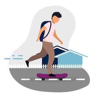 Schoolboy skateboarding   illustration.