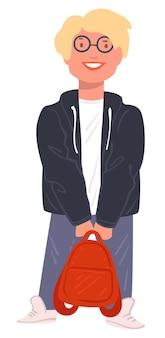 남학생 웃는 남성 캐릭터, 안경을 쓰고 배낭을 들고 고립 된 힙스터 십 대. 학교에서 가방을 든 인물. 대학생, 대학에서 공부하는 소년, 평면에서 벡터