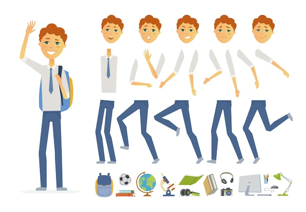 Schoolboy in uniform - vector cartoon people character constructor isolated on white background. set of different face expressions, poses, gestures for animation. a lot of school objects, books, globe