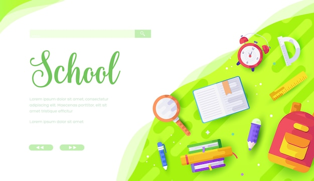 小学生は学ぶ準備ができています。学校に戻る、教育の概念。瞳孔の文房具とバックパック。