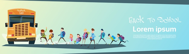 Schoolchildren group go bus back to school education banner