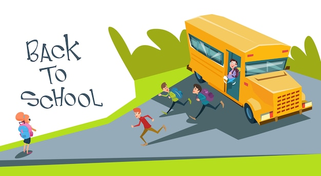 Schoolchildren group run back to school from bus