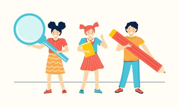 학생들은 교과서, 연필 및 돋보기를 들고 있습니다. 학교로 돌아가다. 행복한 소년과 소녀들은 배우고 있습니다. 어린이 교육.
