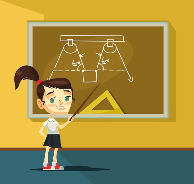 黒板の近くの女子高生のキャラクター