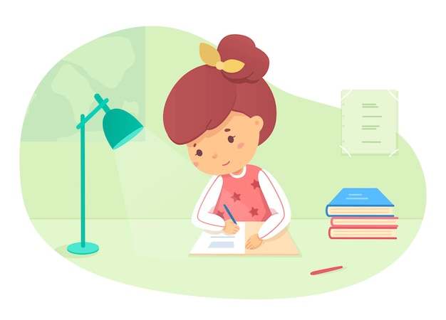 Schoolgirl doing homework cute smiling girl writes in notebook sits at table lamp shines