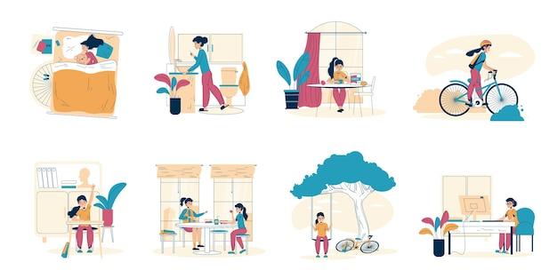 Ежедневный график школьницы, набор сцен повседневной жизни.