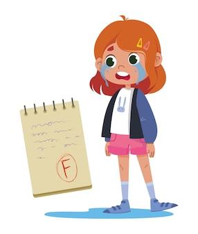 ノートパソコンのベクトルフラットで試験レタリングの悪いマークのために泣いている女子高生の女の子。テスト結果f.明るく面白いかわいいイラストクリップアート。学校に戻る