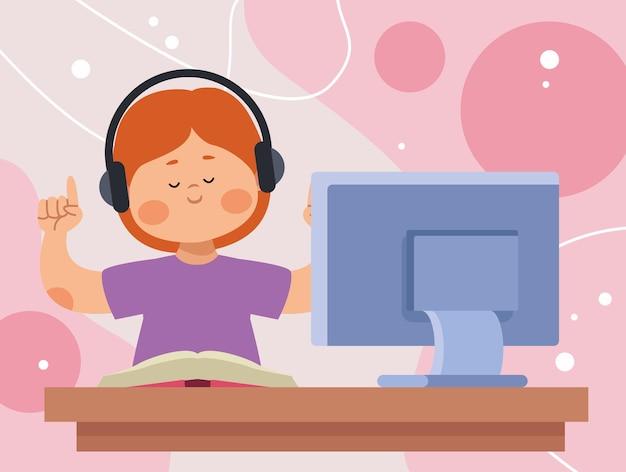 Schoolgirl in online class scene