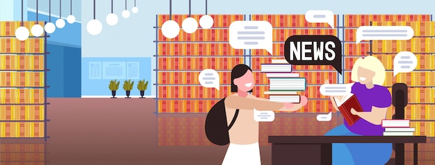 Schoolgirl and teacher discussing daily news chat bubble communication concept. modern library interior portrait horizontal illustration