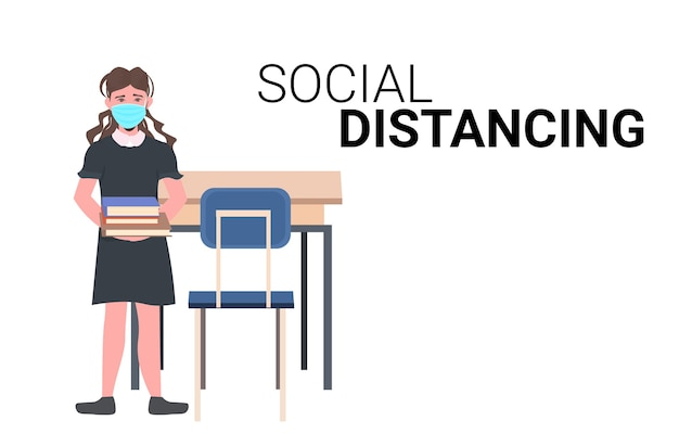 コロナウイルスパンデミック社会的距離covid-19検疫概念分離水平を防ぐためにフェイスマスクを身に着けている女子高生