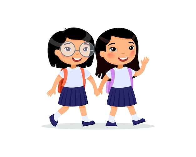 Schoolgirls going to school flat.