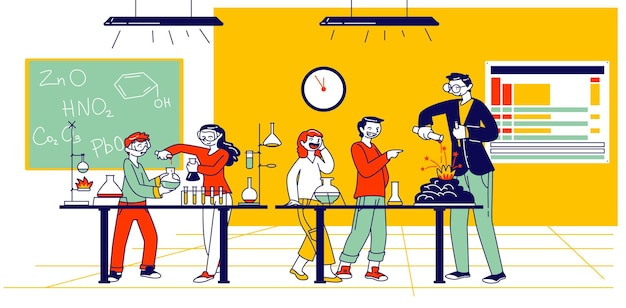 Schoolkids characters on chemistry lesson in classroom with teacher conducting chemical experiment in school class with contemporary equipment, little researchers. linear people vector illustration