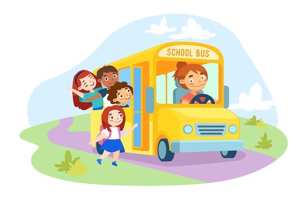 Schoolkids characters enter yellow school bus