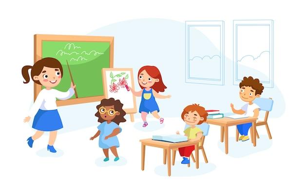 Персонажи-школьники получают образование