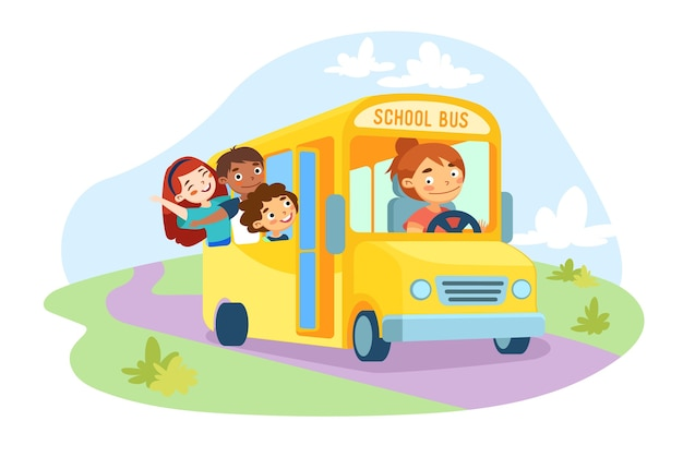 Schoolkids characters sitting in yellow school bus with driver girl at steering wheel