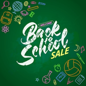 Schoolwelcome back to school lettering on chalk board. colored icons on the theme of education. vector illustration.