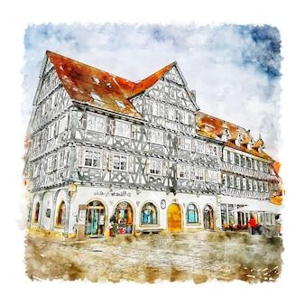 Schorndorf 독일 수채화 스케치 손으로 그린 그림