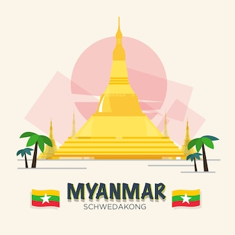 Schwedakong landmark of myanmar. asean set.
