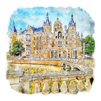 Шверин германия акварельный эскиз рисованной иллюстрации