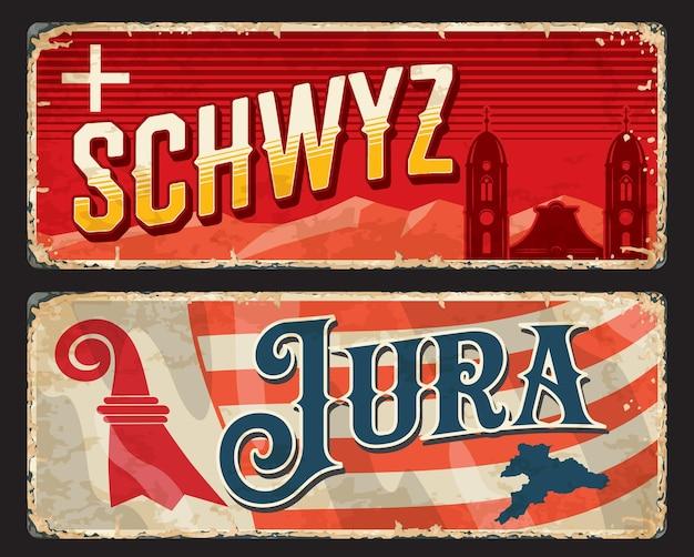 Schwyz 및 jura 스위스 캔톤 빈티지 접시. 스위스 지역