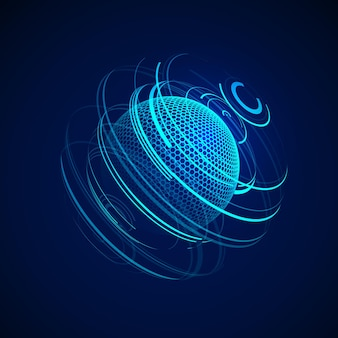 Sci-fi abstract neon sphere. futuristic digital background. hud element or cyber globe.