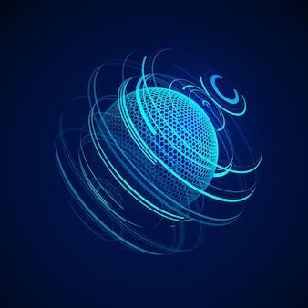 サイエンスフィクションの抽象的なネオン球。未来的なデジタル背景。 hud要素またはサイバーグローブ。