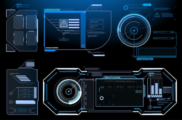 Sci-fi concept design. square frames blocks set hud interface elements. futuristic warning frame