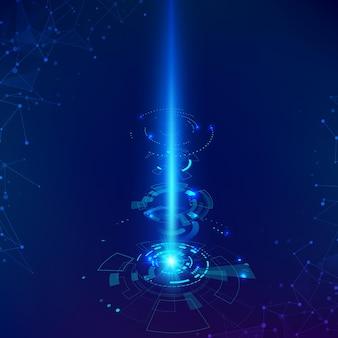 サイエンスフィクションの未来的な背景。科学技術の背景hud要素とビーム。ベクトルイラスト