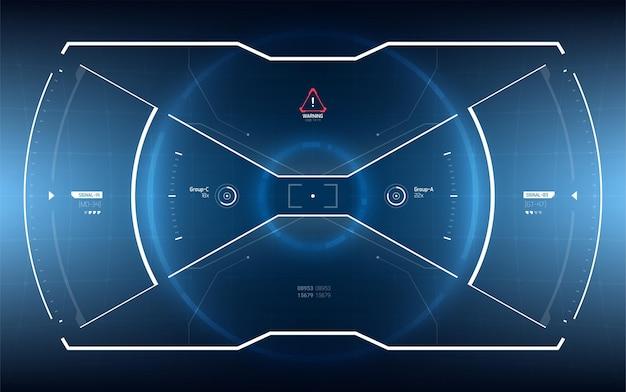 Sci-fiの未来的な光るhudディスプレイ。