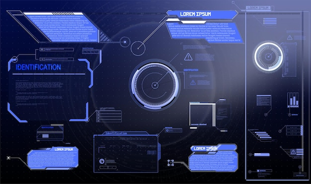 Sci-fi futuristic hud dashboard display virtual reality technology screen. big collection gui elements for vr circle abstract digital technology interface callouts titles and frame in sci- fi style