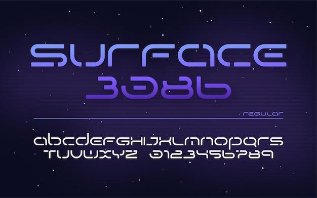 공상 과학 미래 기술 알파벳, 대문자 및 숫자.