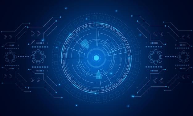 サイエンスフィクションの未来的なユーザーインターフェイス、hud、テクノロジーの抽象的な背景