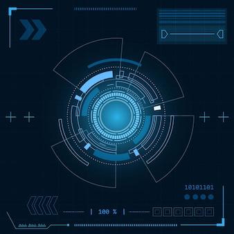 サイエンスフィクションの未来的なユーザーインターフェイスhudテクノロジーの抽象的な図