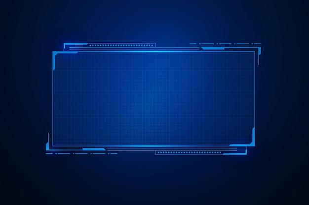 サイエンスフィクションの未来的なユーザーインターフェイス、hudテンプレートフレームデザイン、テクノロジーの抽象的な背景