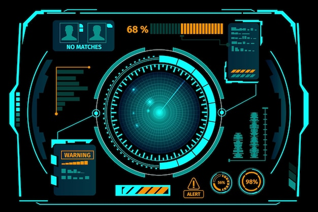 Sci fi hologram control dashboard in hud style