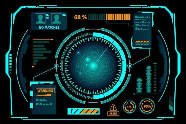 Hudスタイルのsfホログラムコントロールダッシュボード Premiumベクター