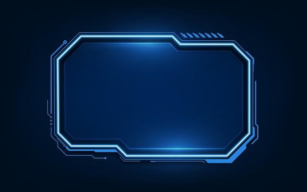 Sci fihudの最新の未来的なユーザーインターフェイスhudダッシュボードインターフェイスを備えたテクノロジーの背景。