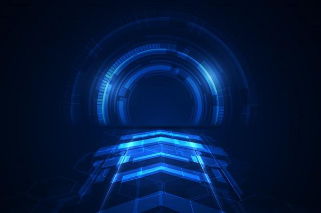 Абстрактная блокчейн sci fi круговой циферблат hud технология концепции фон.