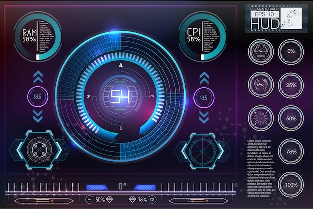Sci-fiヘルメットhud。将来の技術ディスプレイデザイン。