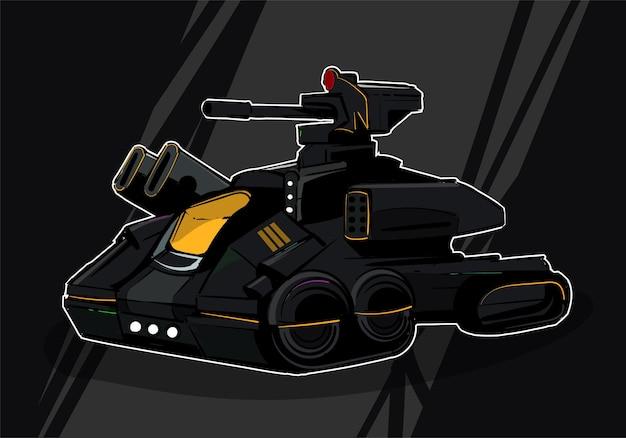 Sci fi - футуристический бронированный ракетный танк в стиле киберпанк