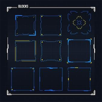 Sci fi 현대 미래의 사용자 인터페이스 사각형 블록 세트. 추상 hud