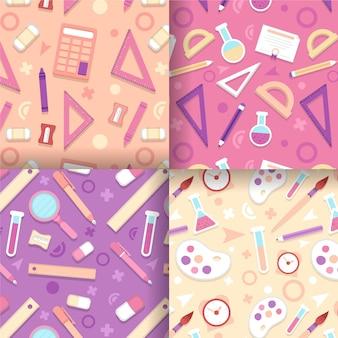 科学と芸術のフラットデザインのシームレスパターン