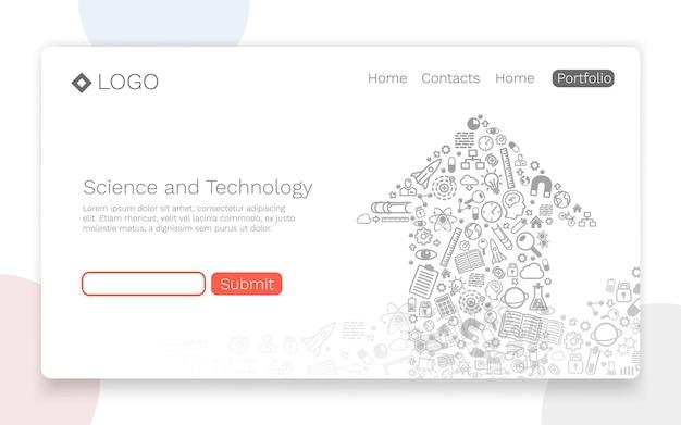 科学技術、アイコンの背景、ランディングページの概念。ベクトルイラスト