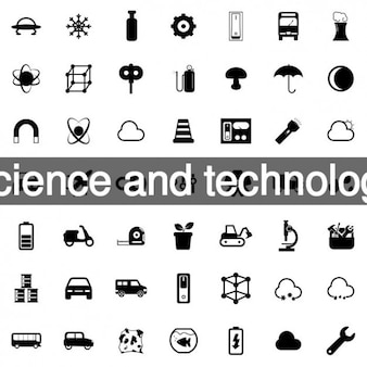 Science and technology icons collection