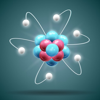 Science atom chain in white blue and red colors with shadow 3d